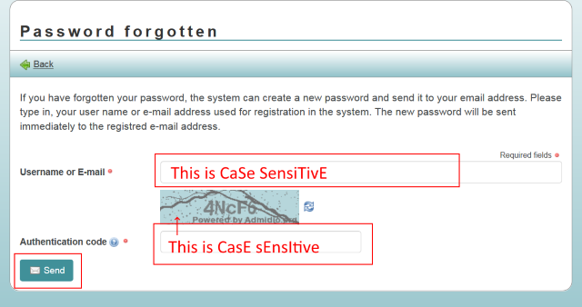 Password forgotten step 2